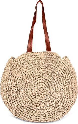 styleBREAKER runde Korbflecht Schultertasche, Strandtasche mit Langen Henkeln, Flechttasche, Tasche geflochten, Shopper, Damen 02012232, Farbe:Beige