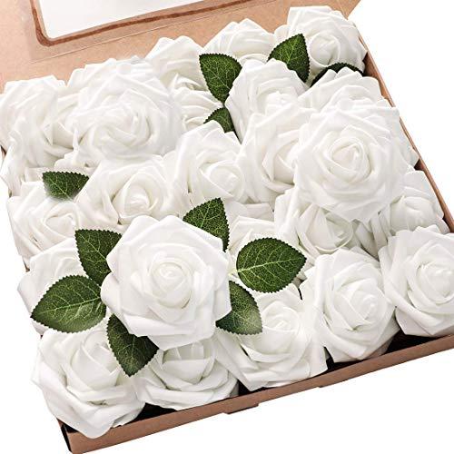 Msrlassn Künstliche Rosen Blumen Schaumrosen Foamrosen Kunstblumen Rosenköpfe Gefälschte Kunstrose Rose DIY Hochzeit Blumensträuße Braut Zuhause Dekoration (Weiß, 25 Stück)