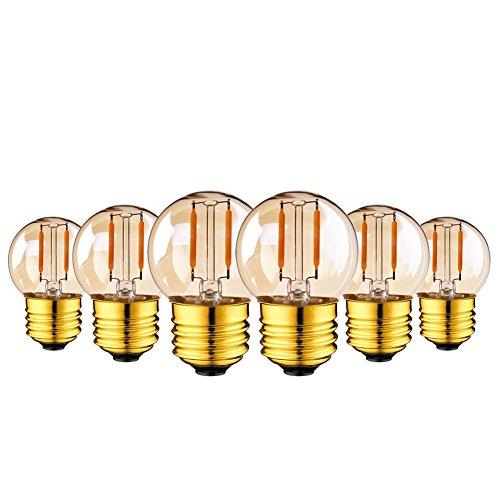 Genixgreen G40 Vintage 1W LED Filament warmes Weiß 2200K Vergoldetes Glas ES LED Antike Edison E27 Ersetzt 10 Watt Glühlampen Equivalent,nicht dimmbar,6er-Pack