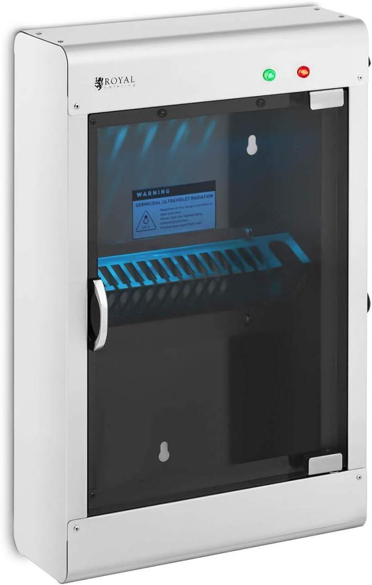 Royal Catering Esterilizador UV Para Cuchillos RC-KSSS201 (Para 14 cuchillos, Carcasa de acero inoxidable y puerta de vidrio acrílico, Temporizador 60 min)