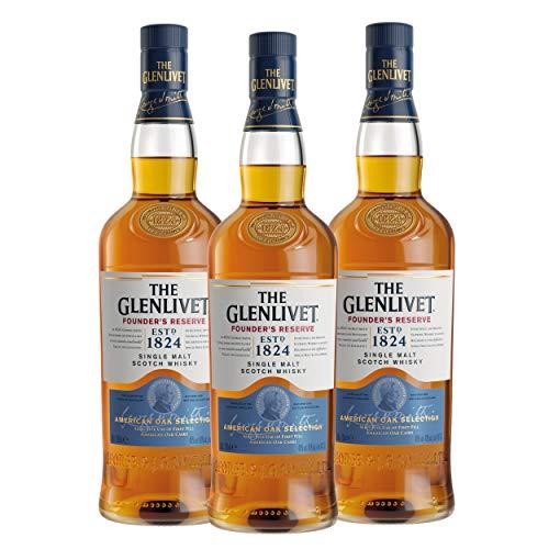 The Glenlivet Founders Reserve Single Malt Scotch - Juego de Whisky (3 Unidades, Alcohol, 40%, 3 x 700 ml)