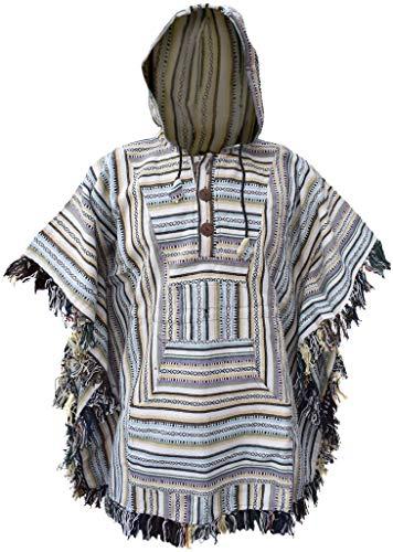 Gheri Hippie Zigeuner Baumwolle Mit Kapuze Umhang Fransen Poncho B
