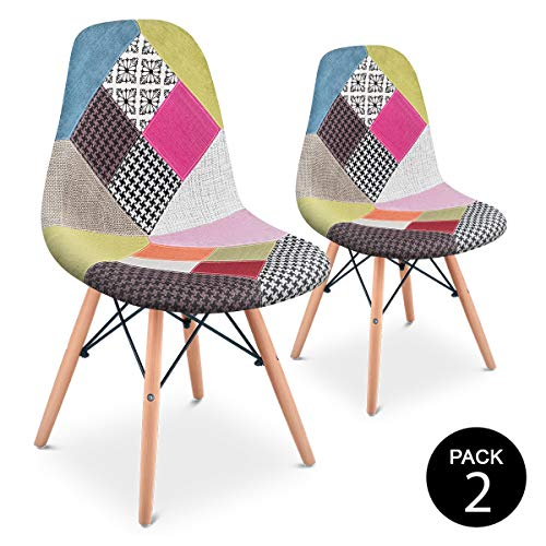 Mc Haus SENA Patchwork - Pack 2 Sillas comedor vintage patchwork tower multicolor rosa diseño tapizado sillas salon estilo retro diseño tower 49x46x84cm
