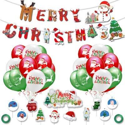 Bochang kaishuai Ghirlanda Natale,Palloncini di Natale Lattice,Decorazione Cake Topper e Tema Natalizio Festa Ornamento Cartone Motivi di Babbo Natale Pupazzo di Neve Renna,Merry Christmas Banner
