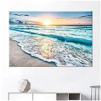 Xchomecp-アートパネル 15.7x23.6in(40x60cm)x1pcs No Frame フレームレスウォールアートKichen絵画現代シンプル北欧シーサイドサンライズビーチ海の眺めの良いキャンバスリビングルーム装飾 なしフレームを