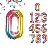VCOSTORE Globos con números de 100 cm para cumpleaños, arcoíris, tamaño grande, lámina de helio, globos para decoración de fiestas