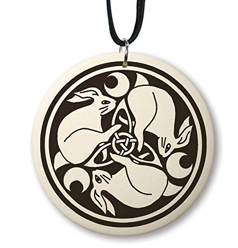 Celtic Hare Porcelain Pendant, representing Good Fortune, Rebirth