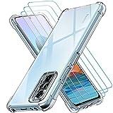 ivoler Klar Hülle für Xiaomi Redmi Note 10 Pro mit 3 Stück Panzerglas Schutzfolie, Dünne Weiche TPU Silikon Transparent Stoßfest Schutzhülle Durchsichtige Kratzfest Handyhülle Hülle