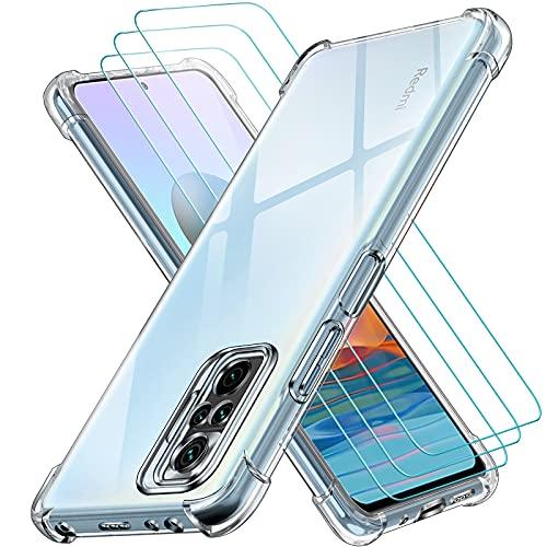ivoler Funda para Xiaomi Redmi Note 10 Pro con 3 Unidades Cristal Templado, Carcasa Protectora Anti-Choque Transparente, Suave TPU Silicona Caso Delgada Anti-arañazos Case