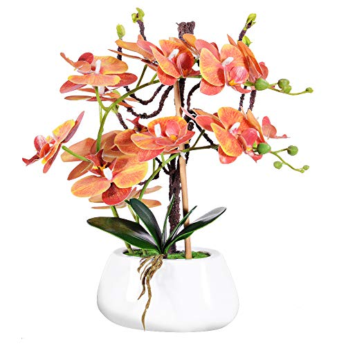 VIVILINEN Künstliche Blume im Topf Orchideen Kunstpflanze Deko Kunstblumen Phalaenopsis für Büro Balkon Wohnzimmer (Orange)