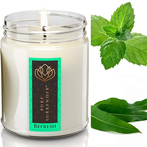 Soy Candles Natural Essential Oils - 100% Pure Peppermint + Eucalyptus Refreshing Aromatherapy Candles | Therapeutic Grade | Relaxation Gifts | Hand Made in The USA