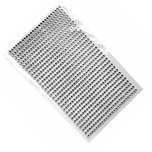 Nail Decoration Set - Nail Sticker 750 Pcs/Set 3mm DIY Decal Mobile Decoration Art Crystal DiamondSelf Adhesive Scrapbooking Flat Stickers - EhxodiaBB, (Silver)