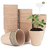 Xnuoyo Macetas de Fibra Biodegradable, Macetas de Turba, 60 Piezas Redondas Macetas de Semillas Degradables con 30 Etiquetas de Plantas(Profundidad:8cm, Boca de Copa:8.5*8.5cm)