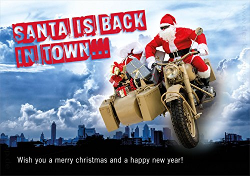 '3Cartoline di Natale carta con busta doppia carta cartolina di Natale Babbo Natale Babbo Natale su BMW Motorrad Santa Is Back In Town.