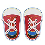 (Pack of 2) Wooden Lacing Shoe Learn to Tie Shoelaces, Fine Motor Skills Threading Toy Board Game