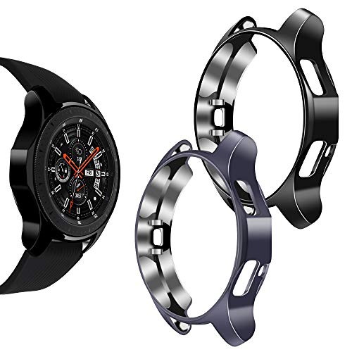 Goton Compatible Samsung Galaxy Watch 46mm Case 2018 ( for SM-R805 and SM-R800 and Gear S3 Frontier SM-R760 ) ,(2 Packs) Soft TPU Smart Shockproof Case Cover Bumper Protector (Gray and Black, 46mm)