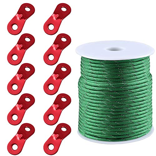 MAGARROW 164ft /50m GuyLines Reflective Tent Rope Camping Cord 4mm with Guy Ropes Tensioners for Camping Hiking (Green)