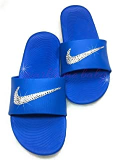 0f1e746bb287 Nike Slide Kawa Women s Blue Swarovski Bedazzled Shoes Bling Nike  Customized for you by Sparkle Me