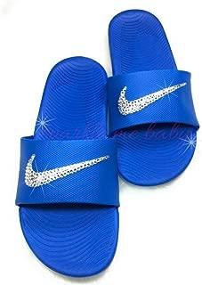 Nike Slide Kawa Women's Blue Swarovski Bedazzled Shoes Bling Nike Customized for you by Sparkle Me Baby 2U