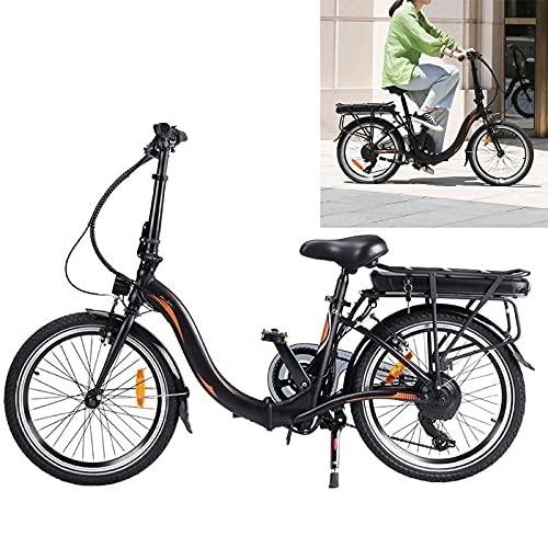 Bicicleta electrica Plegable Conduce a una Velocidad máxima de 25 km/h. Bikes electrica Capacidad de la batería de Iones de Litio (AH) 10AH MTB electrica Tamaño de neumático 20 Pulgadas, Negro