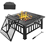 """Bonnlo 32"""" Outdoor Fire Pit with Barbecue/Cooking Grill and Rain Cover Square Metal Wood Burning Pit Backyard Patio Terrace"""