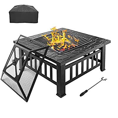 "Bonnlo 32"" Outdoor Fire Pit with Barbecue/Cooking Grill and Rain Cover Square Metal Wood Burning Pit Backyard Patio Terrace"