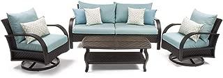 RST Brands Barcelo 4pc Sofa Motion Club Chair Set- Blue