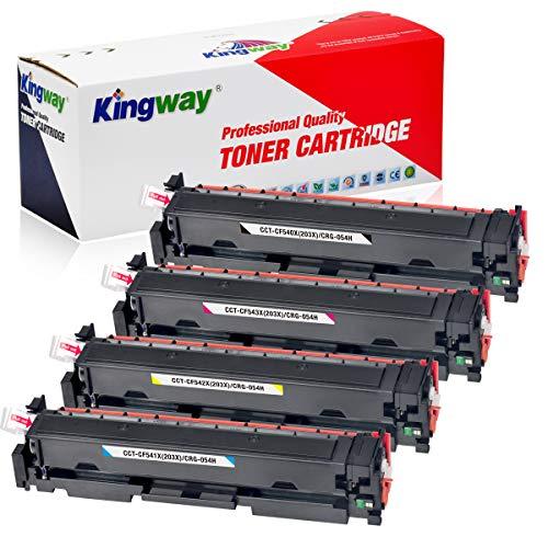 Kingway 203X (CF540X) Cartuchos de tóner compatibles para HP 203X 203A CF540X CF540A Uso para HP Color Laserjet Pro MFP M281fdw M280nw M281fdn M281cdw Pro M254dw M254nw M254dn (4 unidades) Unidades)