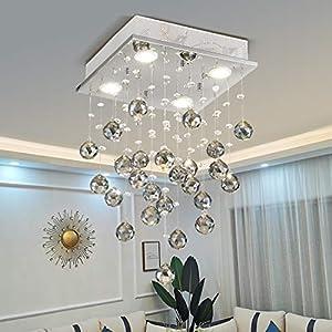 "TZOE Black Crystal Chandelier,Mini Modern Chandelier,Flush Mount Light Fixture, Celling Light for Kitchen Foyer Dining Room Bedroom Living Room,4 GU10 LED Bulbs Required,L11.8"" x W11.8"" x H20.8"""