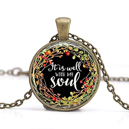 It is Well with My Soul Glass Necklace Religious Jewelry,Bible Quote Jewelry,Gift