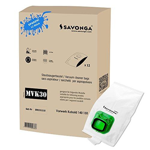 Savonga 12 Staubsaugerbeutel Vlies geeignet für Vorwerk Kobold VK 140 und VK 150 + Filter