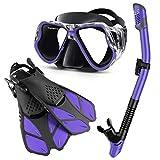 Zenoplige Snorkel Set, Anti-Fog Tempered Glass, Fins/Mask/Snorkel 3-Piece Set,Storage Bag Included, Unisex