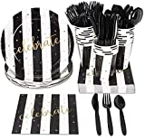 Black and Gold Disposable Party Supplies Set - Serves 48, All-Occasion Paper Plates, Napkins, Plastic Utensils, and Cups