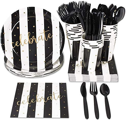 Black and White Party Bundle, Includes Plates, Napkins, Cups, and Cutlery (Serves 48, 288-Pieces)