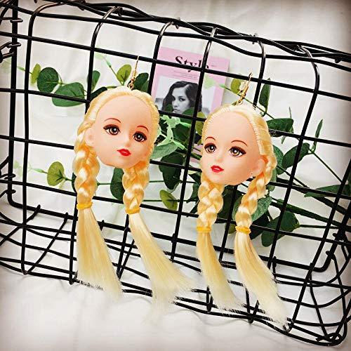 ZSCZQ Kreative Trendige schöne Haare Mädchen Puppe Kopf Tropfen Ohrringe für Frauen Lange baumeln Ohrringe Brincos Modeschmuck Party Geschenke Langhaar