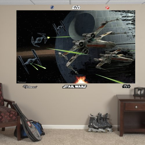 FATHEAD Star Wars: Battle of Endor Mural-Huge Officially Licensed Removable Graphic Wall Decal, 78' W x 48' H