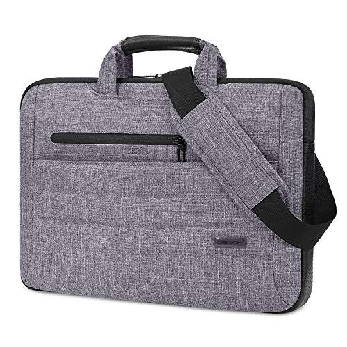 BRINCH Laptop Bag for Men Women Slim Light Business Briefcase Shoulder Messenger Bag Water Resistant Portable Computer Carrying Sleeve Case w/Strap and Hidden Handle Fits 15-15.6 Inch Laptop, Gray