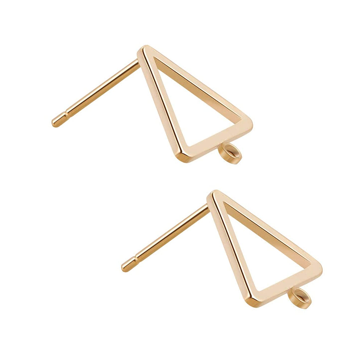 BENECREAT 5 Pairs 18K Gold Plated Earring Studs Earring Posts Triangle Stud Earrings with Hole for DIY Jewelry Making Findings - 10.6x10.6mm