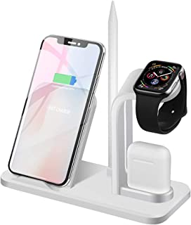 Wireless Charging Stand for Apple Watch, Airpods and Smartphones (QC3.0 Adapter Included) 7.5W/10W Qi Fast Inductive Charger for iPhone Xs Max/XS/XR/X/8 Plus,Samsung S10+/S9+/S9/Note 9 and More