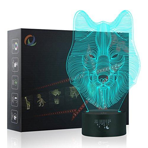 3D Wolf Nachtlicht,7 Farben Berührungssteuerung Zuhause Dekor Tischleuchte,Optische Illusion LED Nachtlampe USB Tischlampe, für Kinder Weihnachten Geburtstag beste Geschenk Spielzeug