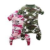 DroolingDog Dog Pajamas Camo Dog Clothes Dog PJS Summer Dogs Pajamas, XL, Pack of 2