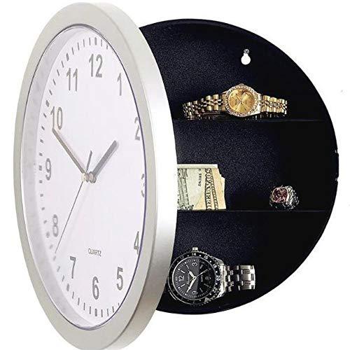 Nicejoy 1 reloj seguro con compartimento oculto para pared, funciona con pilas, reloj analógico con almacenamiento interior secreto para joyas, dinero en efectivo, objetos de valor.