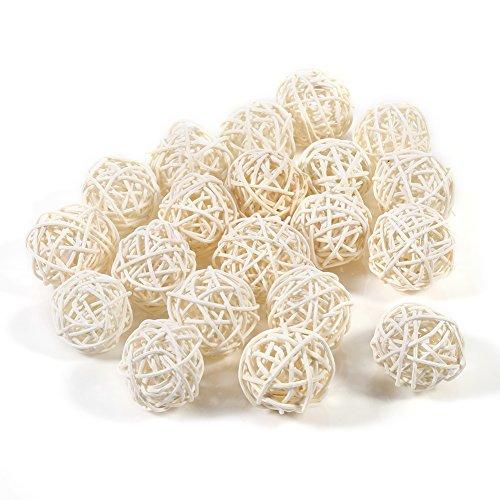 Bolas de ratán, 5 colores, 20 unidades, coloridas, decorativas de mimbre, adornos para mesa, boda, Navidad, fiestas de cumpleaños, blanco