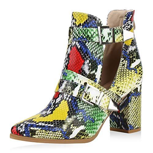 SCARPE VITA Damen Stiefeletten Ankle Boots Snake Print Booties High Heels Blockabsatz Schuhe Cut Out Kurzschaft-Stiefel 192413 Blau Gelb Grün Snake 38
