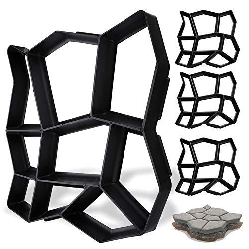 wolketon 4X DIY Molde para cemento Manual Molde para camino de piedra Jardín Decoración Embellecimiento Suelos Molde para hormigón impreso Plástico Césped Garaje