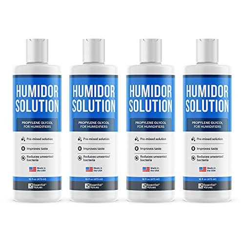 Essential Values Humidor Solution (16 FL OZ Per Bottle), Made in USA | Pre-Mixed Propylene Glycol Formula for Humidifiers, Keep Stogies Fresher Than Ever - Comparable to Other Brands
