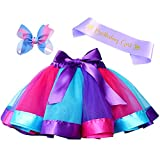 Layered Rainbow Tutu Skirt Costumes Set with Hair Bows Clips and Satin Sash for Girls Birthday Party Dress up (Purple/Blue/Rose Rainbow, L,4t~8t)