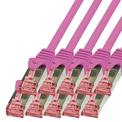 BIGtec - 10 Stück - 0,15m Netzwerkkabel Patchkabel Ethernet LAN DSL Patch Kabel Gigabit Magenta (2X RJ-45 Anschluß, CAT6, doppelt geschirmt) 0,15 Meter
