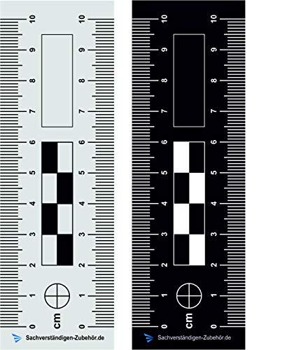 Sachverständigen-Zubehör 2er Set Tatortlineal - doppelseitig bedruckt | 10 cm | Dokumentationshilfe | Fotoreferenzmaßstab