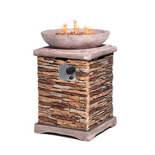 COSIEST Outdoor Propane Fire Pit Table w Faux Brown Compact Ledgestone 20-inch Square Base and Faux Rose-Marble Round Bowl, 40,000 BTU, Free Lava Rocks, Fits 20gal Tank Inside, Raincover